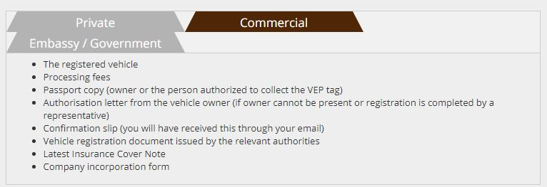 Commercial Vehicle - VEP Tag Collection